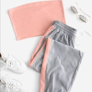2 piece set, Sweatpants w/ matching Bando Top